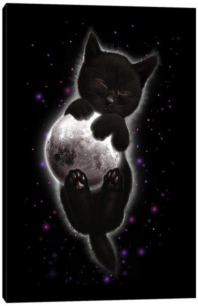 Cat Hugging Moon Canvas Art Print