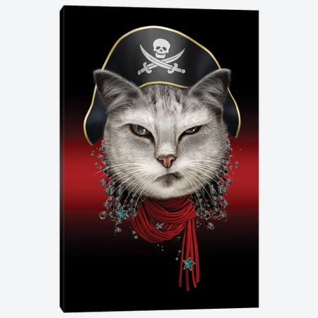 Portrait Of Pirate Cat Canvas Print #ADL155} by Adam Lawless Canvas Print