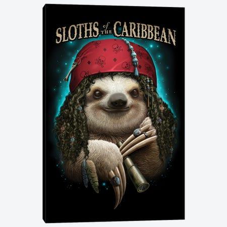 Pirate Sloth Canvas Print #ADL161} by Adam Lawless Art Print