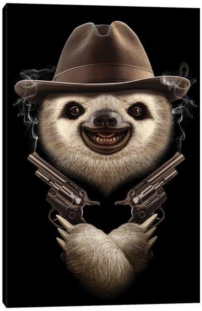 Sloth Crossgun Canvas Art Print