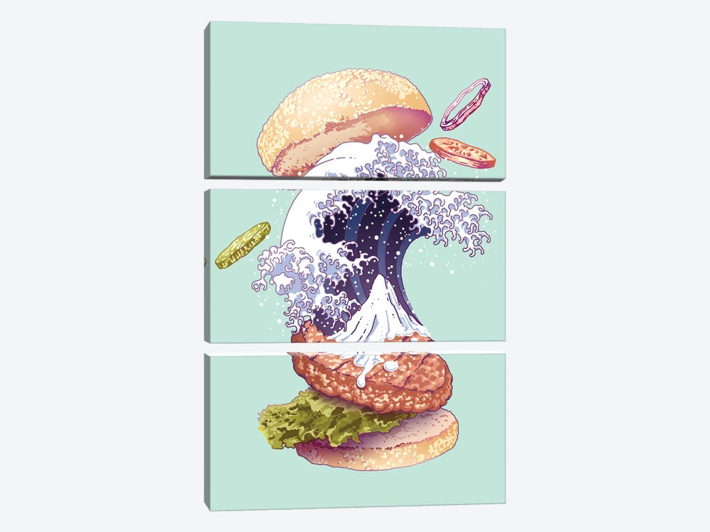 Kanagawa Burger by Adam Lawless 3-piece Canvas Art