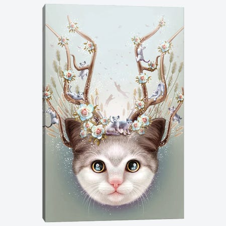 Kitten Horns Up Canvas Print #ADL45} by Adam Lawless Canvas Art Print