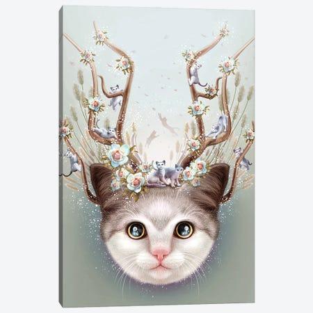 Kitten Horns Up Canvas Print #ADL45} by Adam Lawless Canvas Art Print
