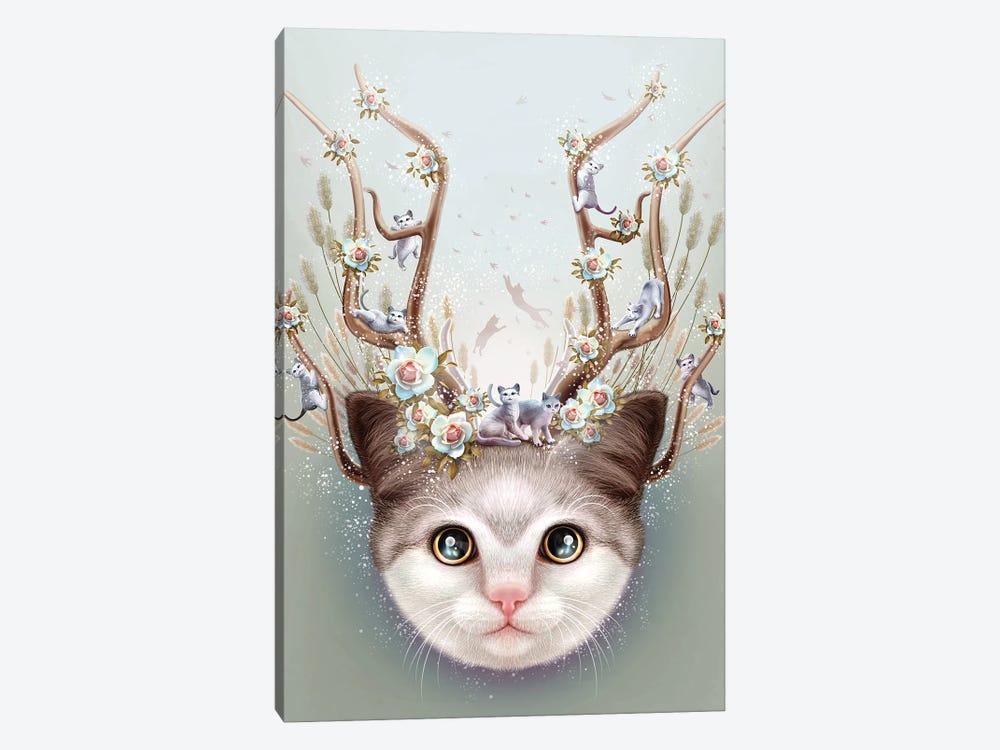 Kitten Horns Up by Adam Lawless 1-piece Art Print