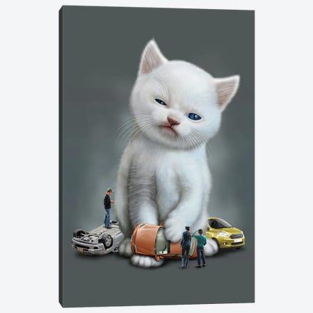 Kitten Vs Cars Canvas Print #ADL46} by Adam Lawless Canvas Art Print