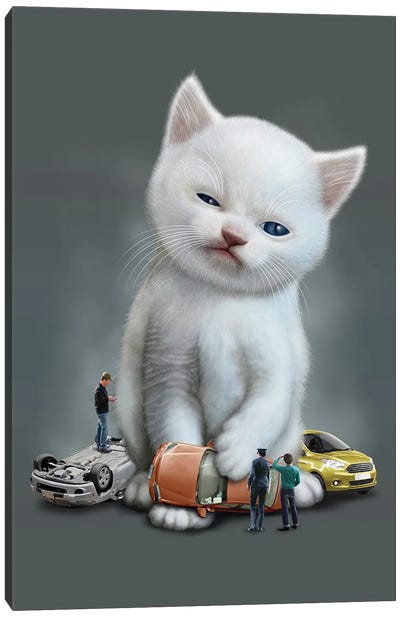 Kitten Vs Cars Canvas Art Print