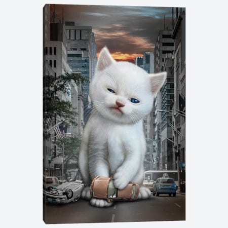 Meow Attack Canvas Print #ADL53} by Adam Lawless Art Print