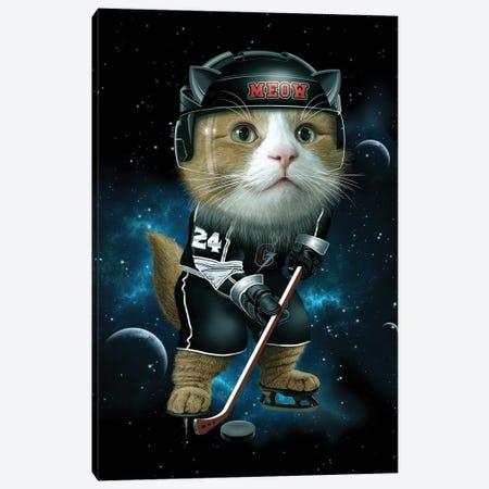 Meow Ice Hockey Canvas Print #ADL54} by Adam Lawless Canvas Art