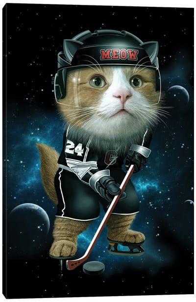Meow Ice Hockey Canvas Art Print