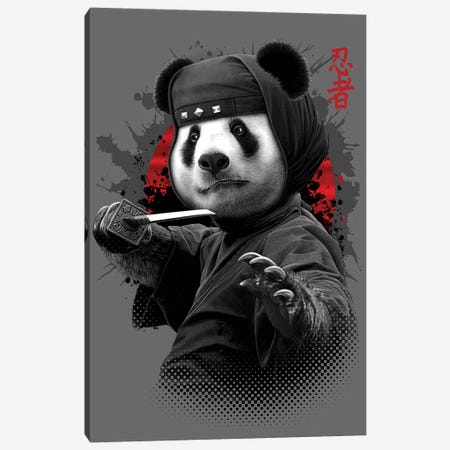 Ninja Panda Canvas Print #ADL59} by Adam Lawless Art Print