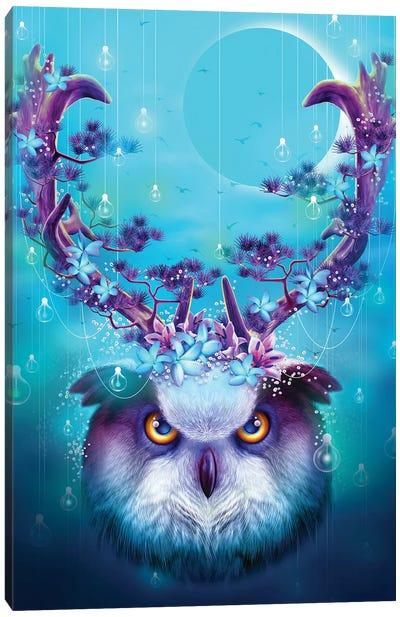 Owl Horns Up Canvas Art Print