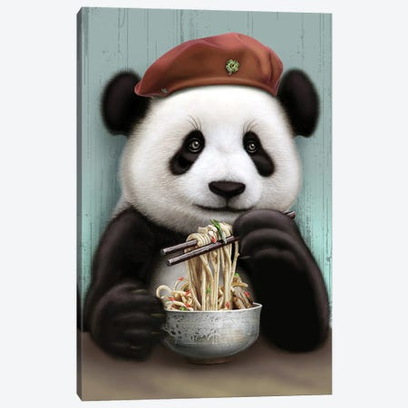 Panda Eat Noodle Canvas Print #ADL66} by Adam Lawless Art Print
