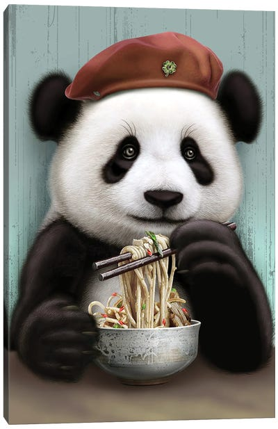 Panda Eat Noodle Canvas Art Print