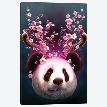 Panda Horns Up Canvas Print #ADL67} by Adam Lawless Art Print