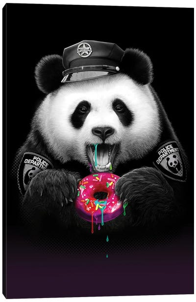 Panda Loves Donut Canvas Art Print