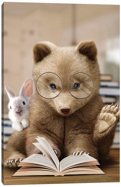 Bear Rabbit Book Canvas Art Print