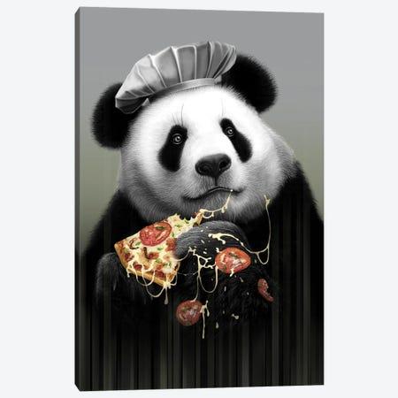 Panda Loves Pizza Canvas Print #ADL70} by Adam Lawless Canvas Print