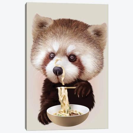 Red Panda Loves Noodle 3-Piece Canvas #ADL82} by Adam Lawless Canvas Wall Art