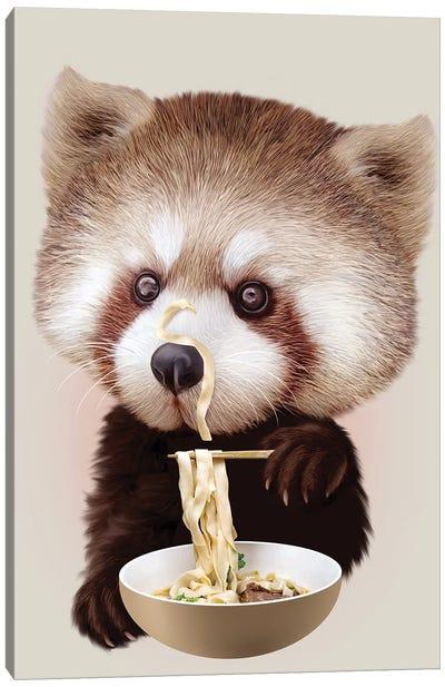 Red Panda Loves Noodle Canvas Art Print