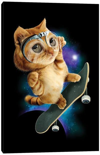 Skateboard Cat Canvas Art Print