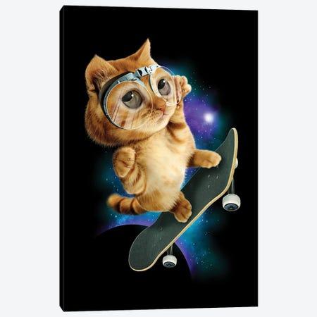 Skateboard Cat Canvas Print #ADL86} by Adam Lawless Canvas Art Print