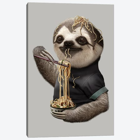 Sloth Eat Noodle Canvas Print #ADL87} by Adam Lawless Canvas Print