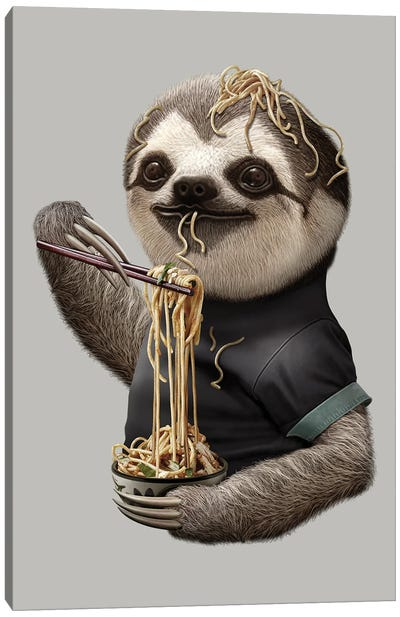 Sloth Eat Noodle Canvas Art Print