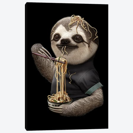 Sloth Eat Noodle Black Canvas Print #ADL88} by Adam Lawless Canvas Artwork