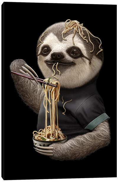 Sloth Eat Noodle Black Canvas Art Print