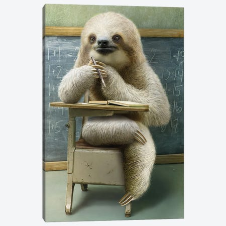 Sloth In Class Canvas Print #ADL89} by Adam Lawless Canvas Art