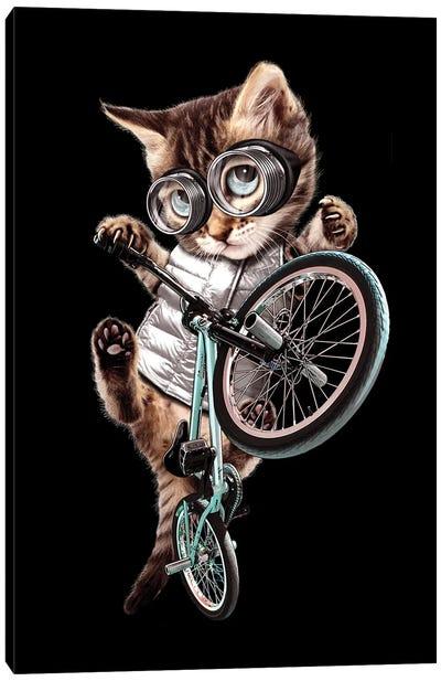 BMX Cat Canvas Art Print