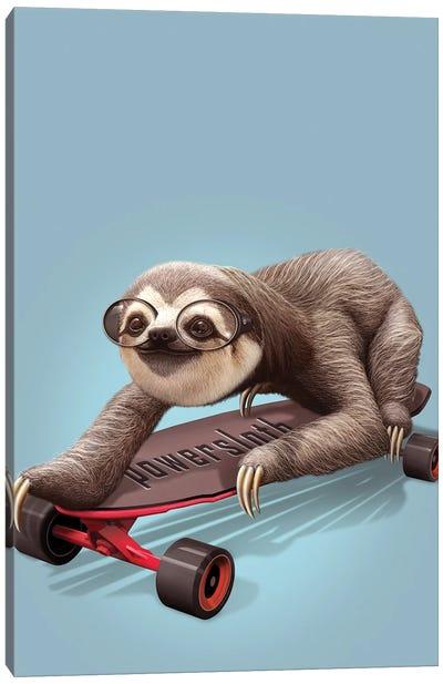 Sloth Skateboard Canvas Art Print
