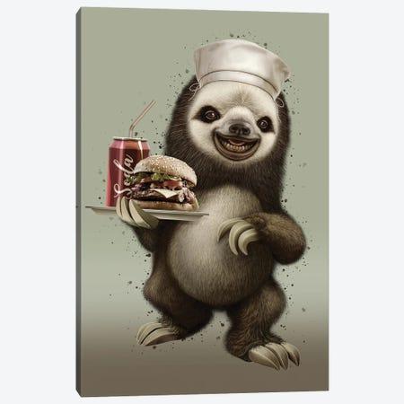 Sloth Waiter Canvas Print #ADL91} by Adam Lawless Art Print