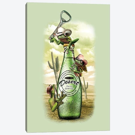 Thirsty Frogs 3-Piece Canvas #ADL96} by Adam Lawless Canvas Art