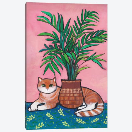 My Cute Tiger Under The Palm Tree Canvas Print #ADN101} by Alexandra Dobreikin Canvas Wall Art