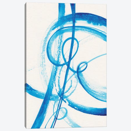 Calligraphy In Blue II Canvas Print #ADN143} by Alexandra Dobreikin Canvas Artwork