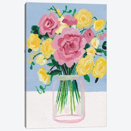 Bouquet On A Blue Background Inspired By Matisse Canvas Print #ADN163} by Alexandra Dobreikin Canvas Art