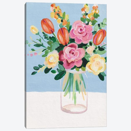 Bouquet On A Blue Background Inspired By Matisse II Canvas Print #ADN164} by Alexandra Dobreikin Canvas Print