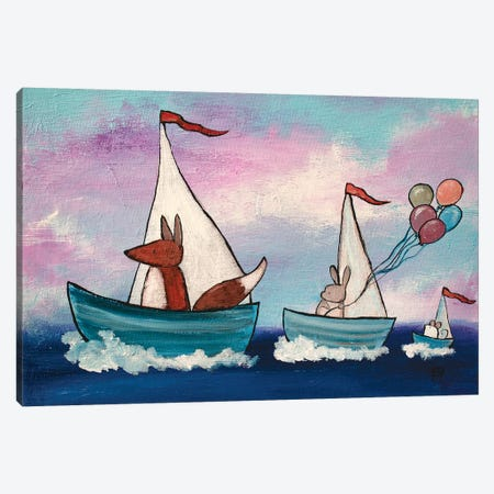 Tag Along Boats Canvas Print #ADO19} by Andrea Doss Canvas Wall Art