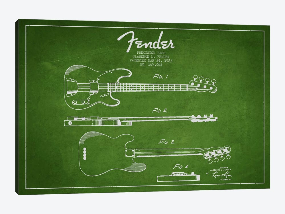 Fender Guitar Green Patent Blueprint by Aged Pixel 1-piece Canvas Art