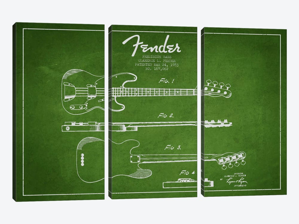Fender Guitar Green Patent Blueprint by Aged Pixel 3-piece Canvas Artwork