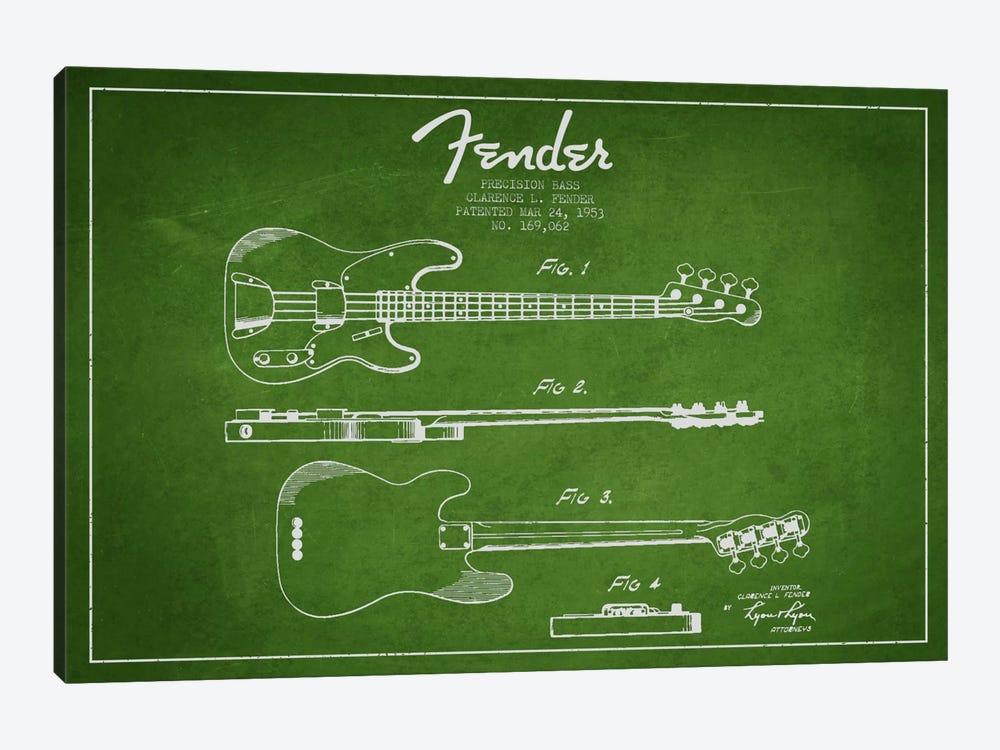 Fender Guitar Green Patent Blueprint by Aged Pixel 1-piece Canvas Art