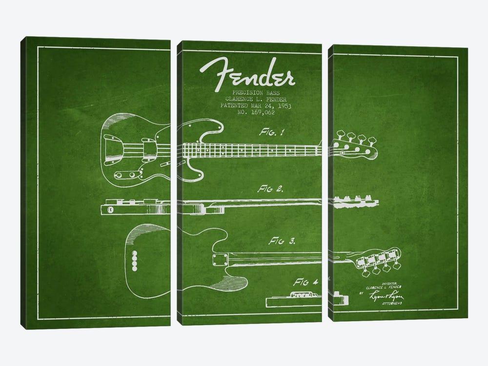 Fender Guitar Green Patent Blueprint by Aged Pixel 3-piece Canvas Artwork