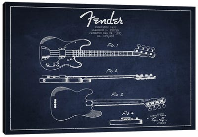 Fender Guitar Navy Blue Patent Blueprint Canvas Art Print