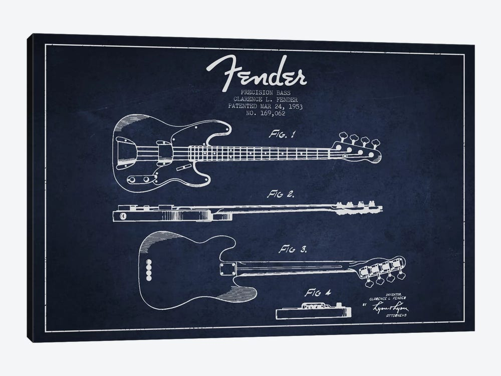 Fender Guitar Navy Blue Patent Blueprint by Aged Pixel 1-piece Art Print