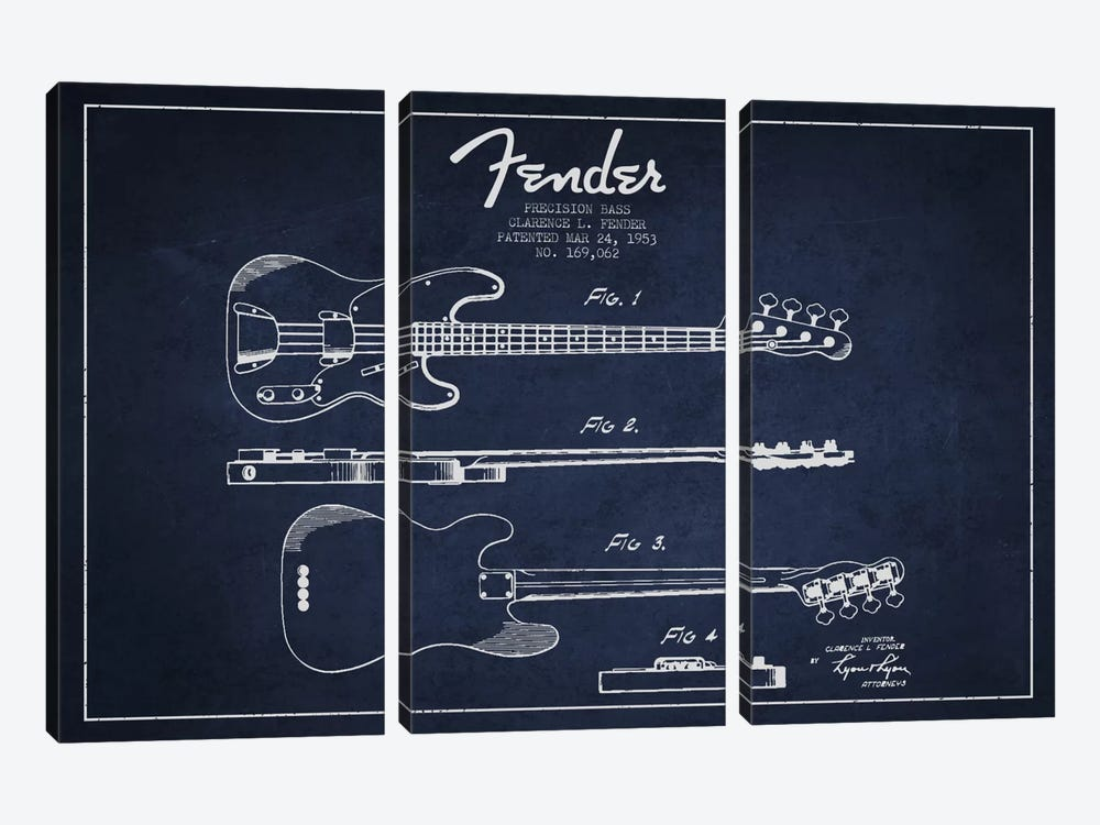 Fender Guitar Navy Blue Patent Blueprint by Aged Pixel 3-piece Canvas Print