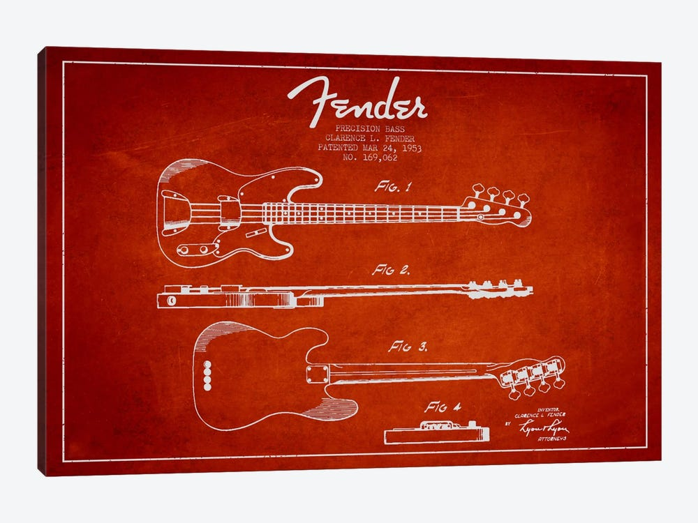 Fender Guitar Red Patent Blueprint by Aged Pixel 1-piece Canvas Art