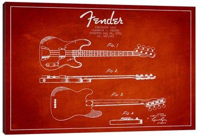 Fender Guitar Red Patent Blueprint Canvas Art Print