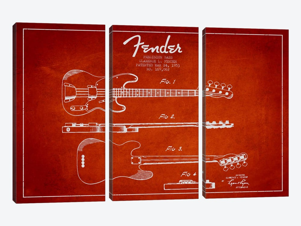 Fender Guitar Red Patent Blueprint by Aged Pixel 3-piece Canvas Wall Art