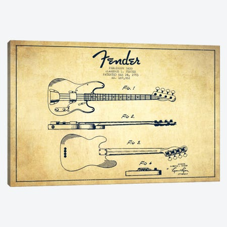Fender Guitar Vintage Patent Blueprint Canvas Print #ADP1003} by Aged Pixel Canvas Wall Art